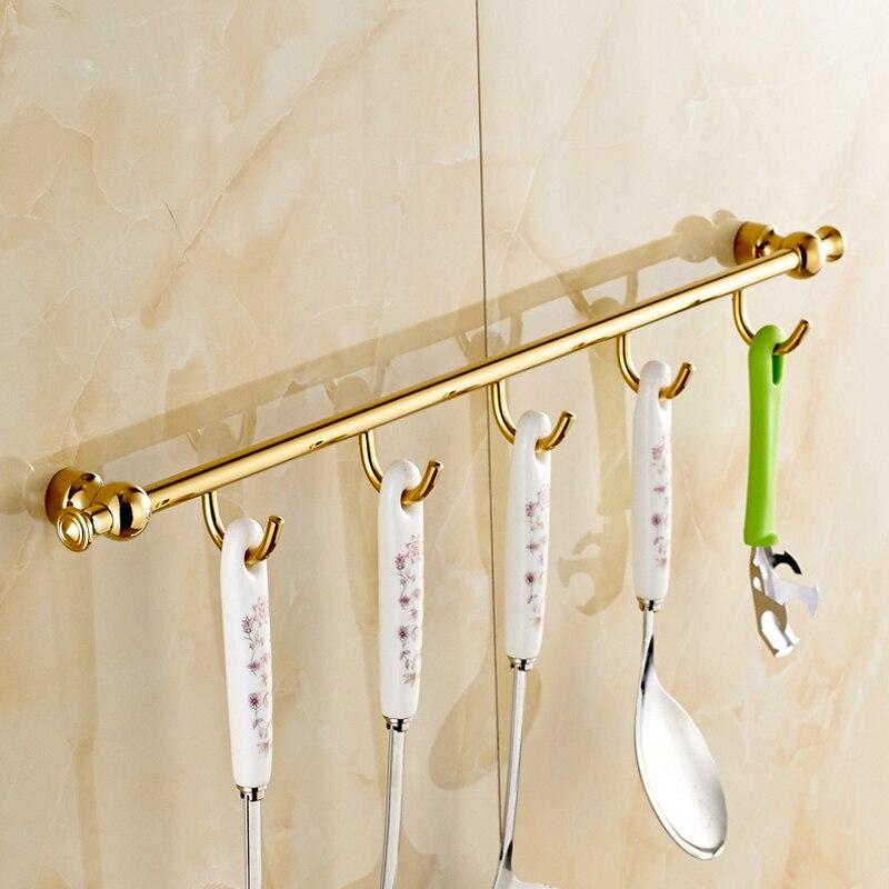 ФОТО Free Shipping Golden In-wall Bathroom Hooks & Racks Kitchen Brass Kitchen Spoon Rack Hanger Towel Hook