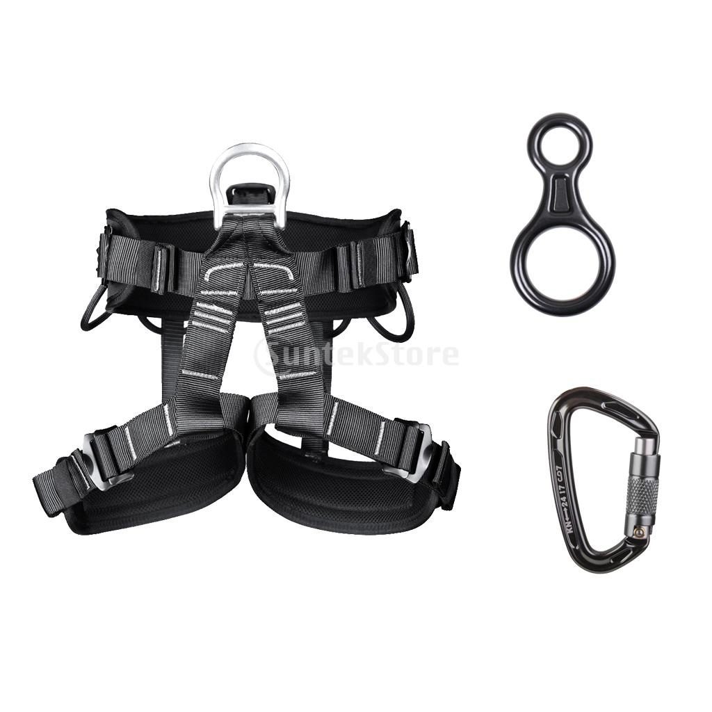 Safety Climbing Seat Harness + Carabiner 24KN + Figure 8 Rappel Device 35KN
