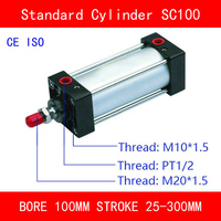 CE ISO SC100 Air Mini Cylinder Valve Magnet Bore 100mm Strock 25mm to 300mm Stroke Single Rod Double Acting Pneumatic