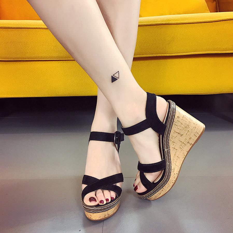 Wedge Sandals Platform Open-Toe High-Heels Female Gladiator Women Summer Fish-Mouth Buckle