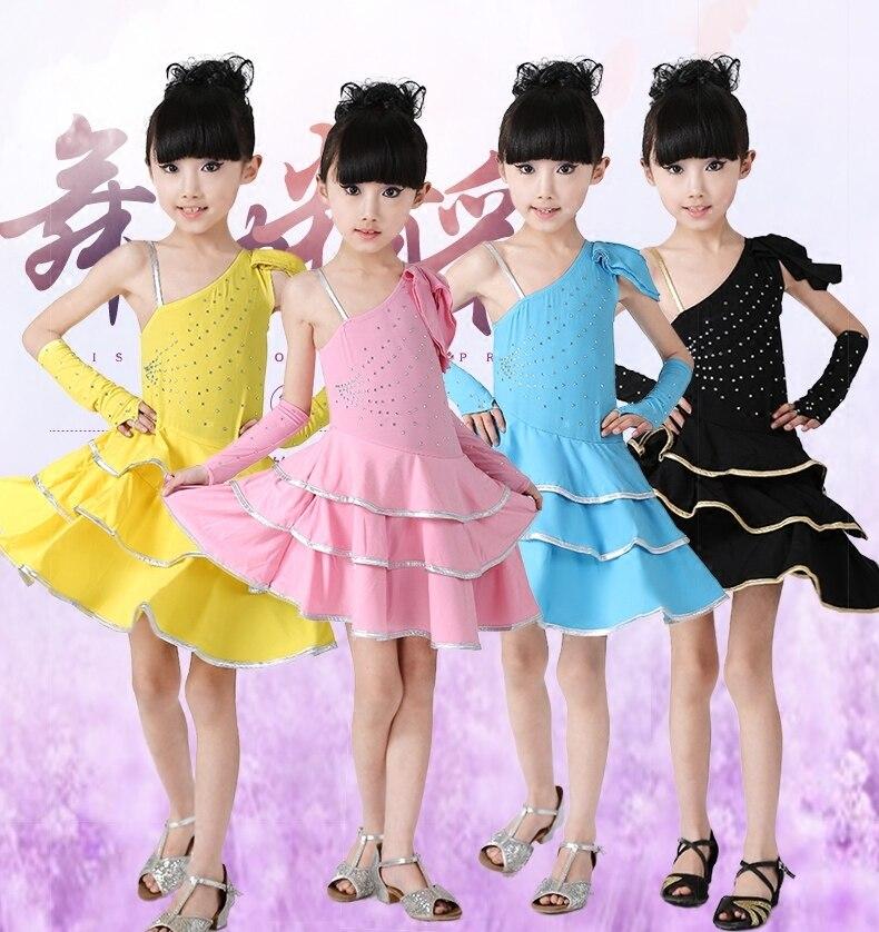 New Rhinestone Diamond Single Shoulder Strap Unequal Kids Girls Child Latin Dance Dress