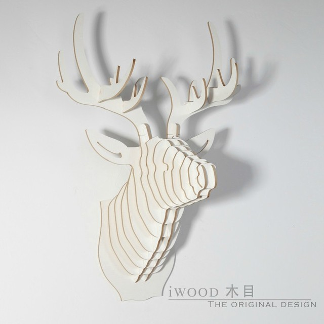 christmas decorations3d diy wooden deer head crafts home decorationnordic scandinavia sweden norway - Wooden Deer Christmas Decorations