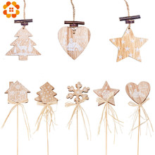 1PC 2Types Printing Wooden Christmas House Tree Star Shape Pendants Hanging Xmas Ornaments Home Party Decorations