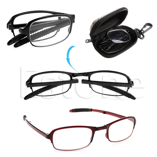 Unisex Foldable Reading Glasses Folded Hanging +1 +1.5 +2 +2.5 +3 +3.5 +4.0 F05