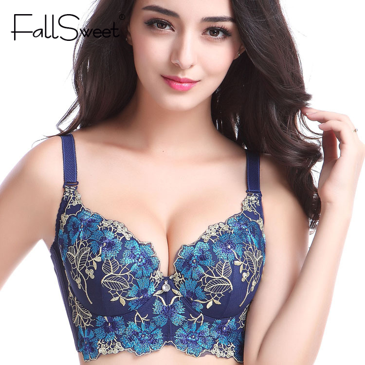 Embroidery Sexy Bras for women,push up brassiere big size underwear, C D cup,75 80 85