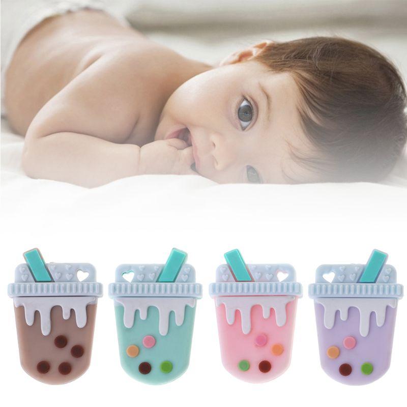 Dentição Do Bebê Mordedor de Silicone Beads DIY Leite Chá Colorido Bonito Engraçado Higiene Bucal Mordida Mastigar Recém-nascidos Alimento Seguro Grau Artesanato pingente