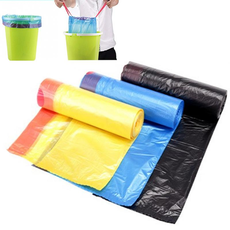 1 Roll Strong Thicken Plastic Bag Auto Drawstring Trash Bag 20L 15 Pack Kitchen Bedroom Bath Rubbish Garbage Bag Random Color