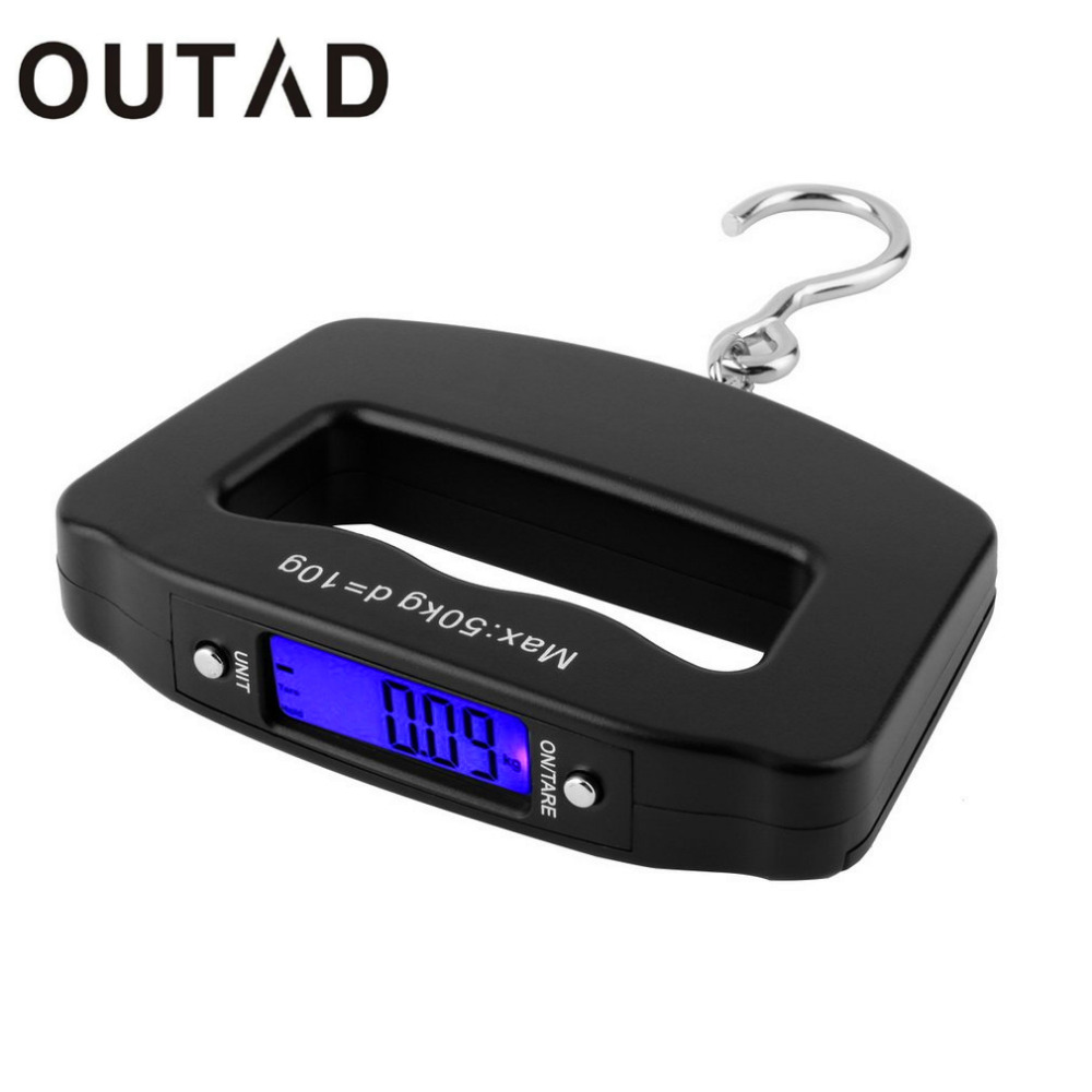 OUTAD 50kg/10g LCD Digital Fishing Hanging Scale Electronic Scale Pocket Hook Mini Hand Held Weight Travel Scale(China)