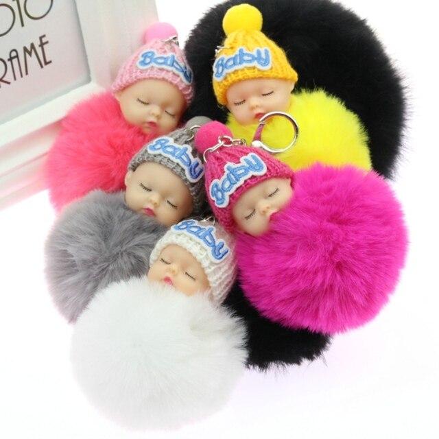 1 pcs Bonito Fofo Bebê Dormindo Chaveiro Bola de Pêlo de Coelho Pompom Chaveiro Car Chaveiro Mulheres Saco Chave Titular Pingente charme Jóias