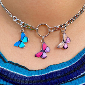 Exclusive harajuku style stainless steel butterfly choker circle collier women cute Punk Style necklace Collares Mujer 2019(China)