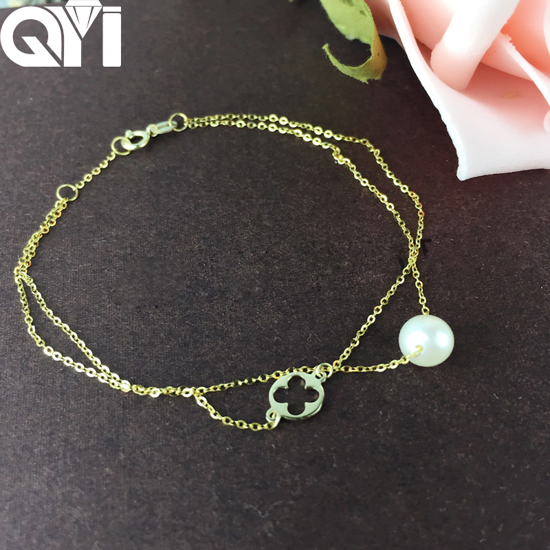 QYI Trendy Chain Bracelets 18K Yellow Gold Natural Cultured Freshwater Pearl Round White Pearl Women Party Jewelry Free Shipping : 91lifestyle