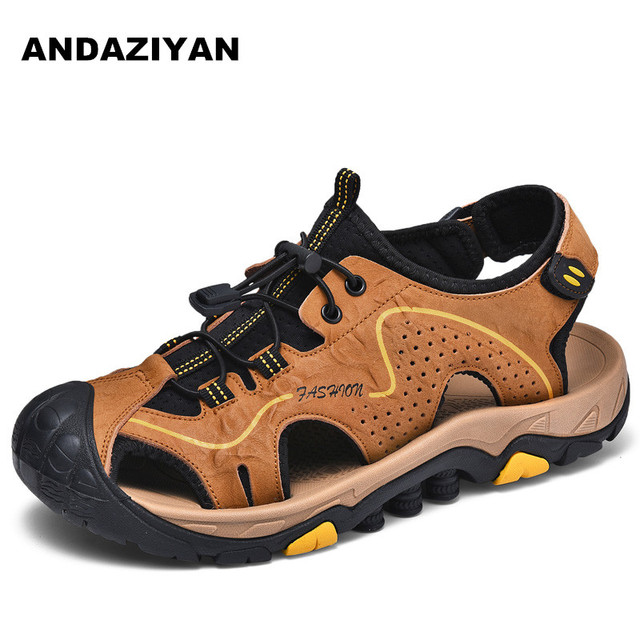 Men's sandals leather toe cap outdoor breathable casual shoes