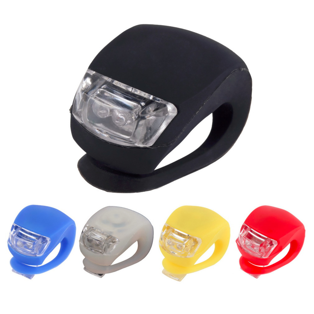 1PC Silicone Bike Bicycle Cycling Head Front Rear Wheel LED Flash Light Lamp