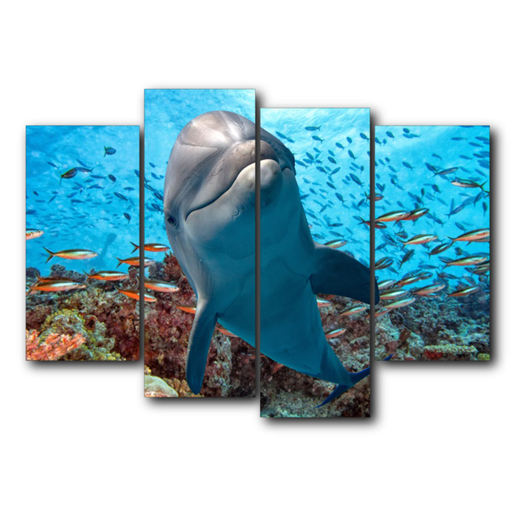 Vintage Underwater 4 Panel Canvas Dolphin Posters and Prints Abstract Wall Artwork For Home Living Room Decoration