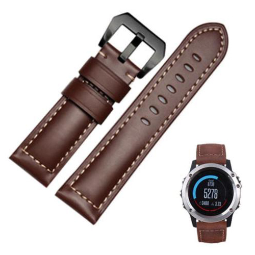 UESH-26mm Crazy Horse pin buckle Genuine Leather Watch Band For Garmin Fenix 3/HR Brown