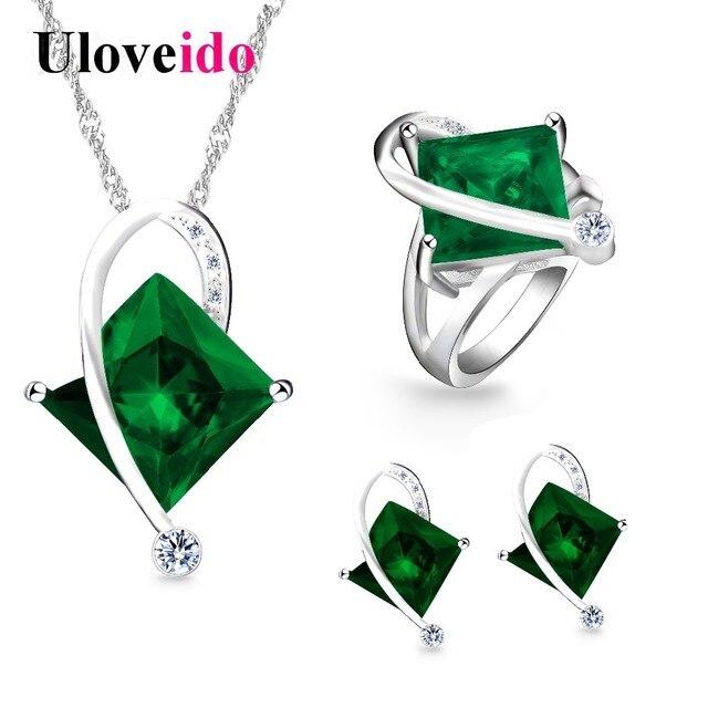 5ceb7dedcb Uloveido moda biżuteria ślubna zestawy z zielony niebieski kamienie zestaw  biżuterii pierścień kobiet naszyjnik i kolczyki