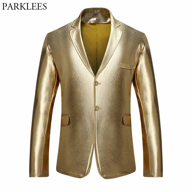 Для мужчин штаны золотого цвета металлик с зазубренными лацканами вечерние пиджак 2018 Стильные с цветочным узором из СМОКИНГ-пиджак куртка для свадьбы или выпускного бала костюмы для сцены