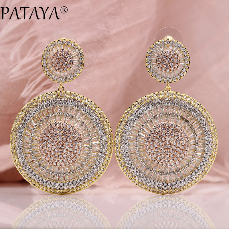 PATAYA New Three-color Plating Stud Earrings For Women Fashion Luxury Wedding Jewelry 585 Rose Gold Natural Zircon Long Earrings pair of zircon gold plated stud earrings