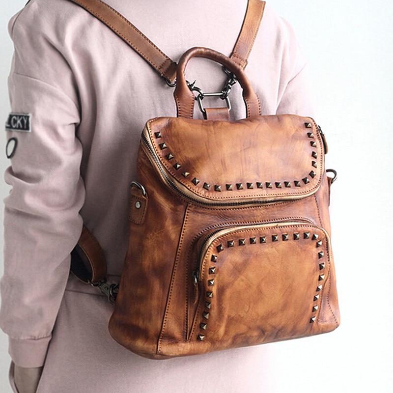 100% Vegetable Tanned Leather Women Backpacks Genuine Leather Vintage Rivet Backpack Female Fashion Travel Backpack Hot Sale fashion design women backpack leather star rivet black female youth satchel