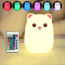 7 colors cute cat lamp colorful light silicone cat night lights children usb led night lamp bedroom rechargeable touch sensor Colorful Cat Silicone LED Night Light Rechargeable Touch Sensor light 2 Modes Children Cute Night Lamp Bedroom Light