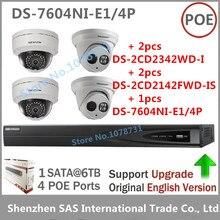 Hikvision видеонаблюдения Системы Наборы NVR и 4MP IP камер DS-7604NI-E1/4 P + 2 шт. DS-2CD2142FWD-IS + 2 шт. DS-2CD2342WD-I IP безопасности Камера