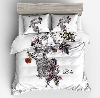 fashion Textile Deer black Fashion Printing Bedding Sets Queen Size Bedclothes flower white DuvetCover pillowcase home ornament