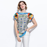 Fashion Loose Women Tops Summer New Plus Size Print Slash Neck Women Tops 2017