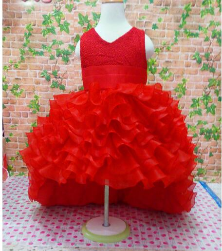 Red girl dress for wedding party new style flowers princess girls dresses children clothing summer girl Dovetail dresses 3-10Y