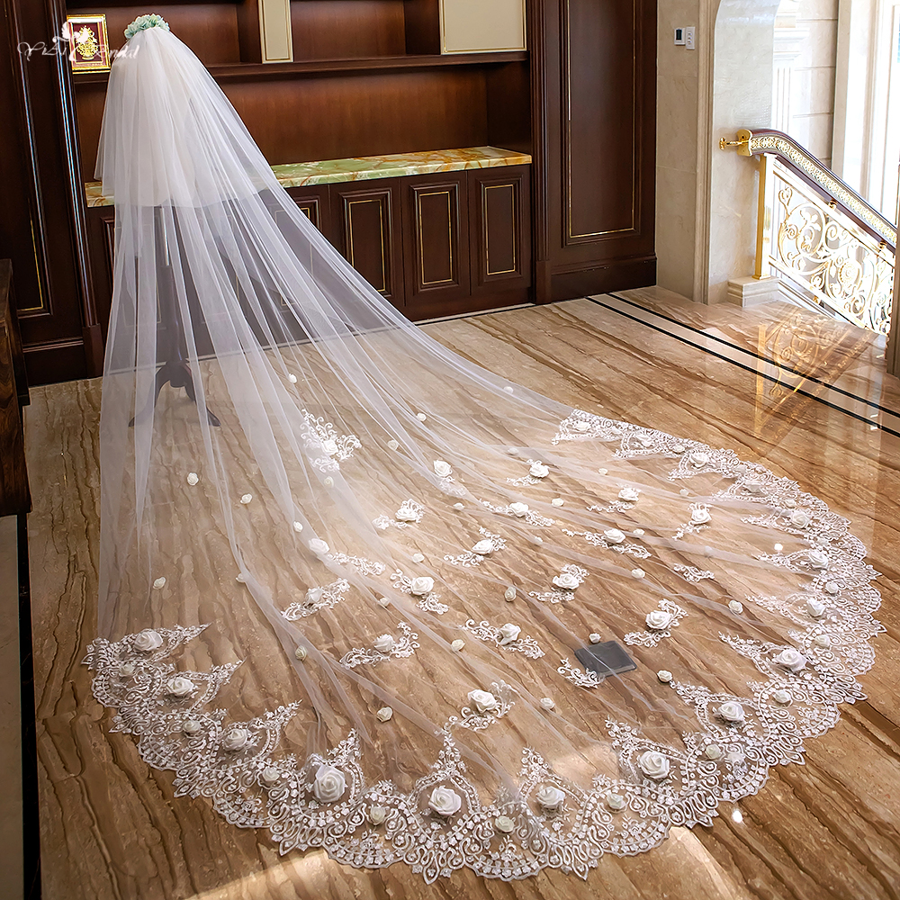 LZP292 Lace Edge With 3D Flowers Bridal Veil 4 Meters Long And 3 Meters Wide Wedding Veil Two Layer Cathedral Wedding Veil