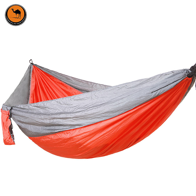 Double People Hammock Camping Survival Garden Hunting Swing Leisure Travel Double Person Portable Parachute Outdoor Furniture grey lapel collar duster coat with side pockets