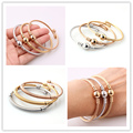 New Arrival 3pc/set Silver Gold Rose Gold Mix 3mm Twisted Cuff Bangle 316L Stainless Steel Bracelet For Womens Girls Jewelry