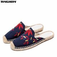 TINGHON Fashion Women Ladies Espadrille Shoes Canvas Embroidered Color leaves Hemps Fisherman Flats Shoes