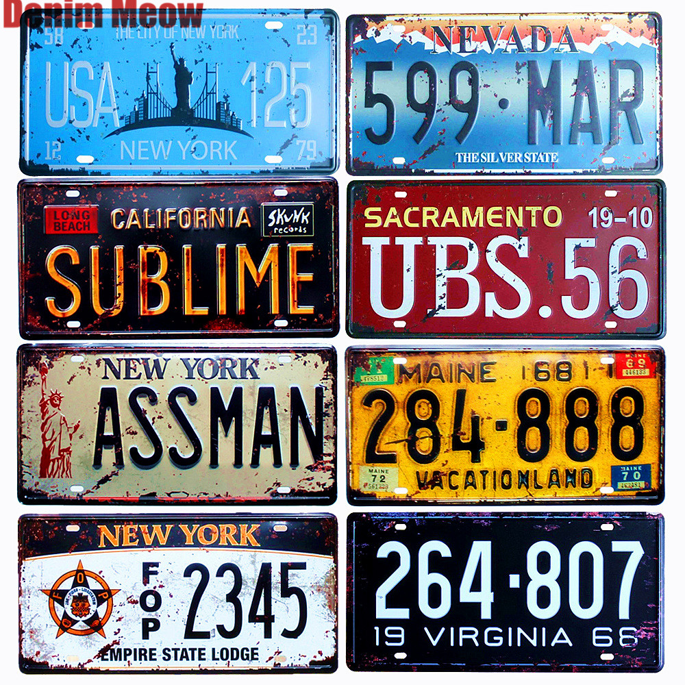 USA NEW YORK 125 métal étain signes numéro de voiture licence rétro décor à la maison pour Bar café Garage plaque de peinture murale 30x15 cm A925