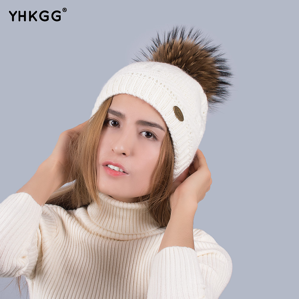 Simple and easy raccoon hair bulb wool knitted hats Warm winter hat  2016   YHKGG  NEW simple lines 2017 fashion hat deserve to act the role of natural a warm hat lovely hair bulb the bulb can be removed