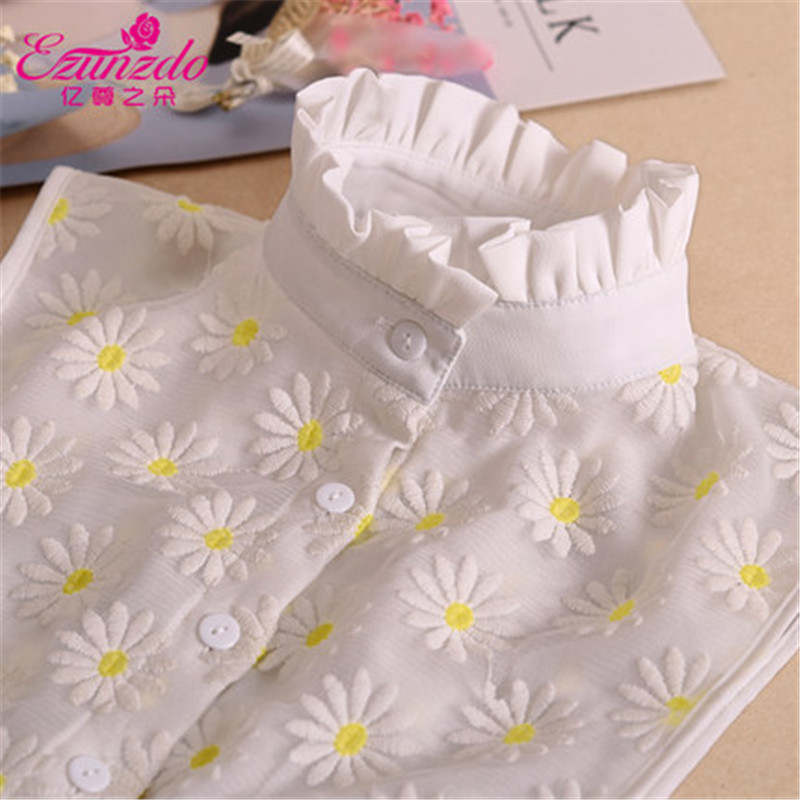 YIZUNZHIDUO Fake Collars Tie Women Shirts High Neck Lace Embroidery Fashion Korean All-match Sweater Beaded Decoration Collar
