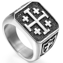 Size 7-15 Jerusalem Cross Ring Stainless Steel Crusaders Religious Jesus Christ Medieval Knight Templar Military Middle Age