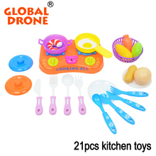 Global Drone 21pcs/Set Mini Kitchen Toys Kid Kitchen Set Plastic Pretend Play Toys Play Food Sets For Kids Early Educational Toy(China)