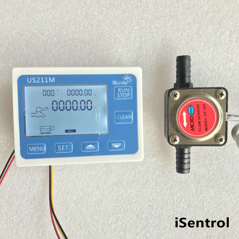 US211M Flow Meter Totalizer Flow Measurement with OF201 Gasoline Gear Water Flow Sensor 1-10L/min us208mt flow totalizer usc hs41ta 0 5 3 5l min g1 4 od flow meter and alarmer totalizer frequency counter hall water flow sensor