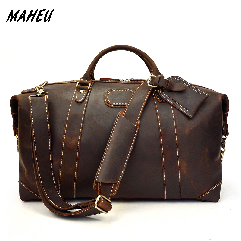 MAHEU Luxury Designer Natural Cowskin Men Travel Bags Hand Luggage Durable Male Big Capacity Business Trip