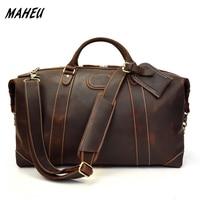 MAHEU Luxury Designer Natural Cowskin Men Travel Bags Hand Luggage Durable Male Big Capacity Business Trip Bag Super Quality