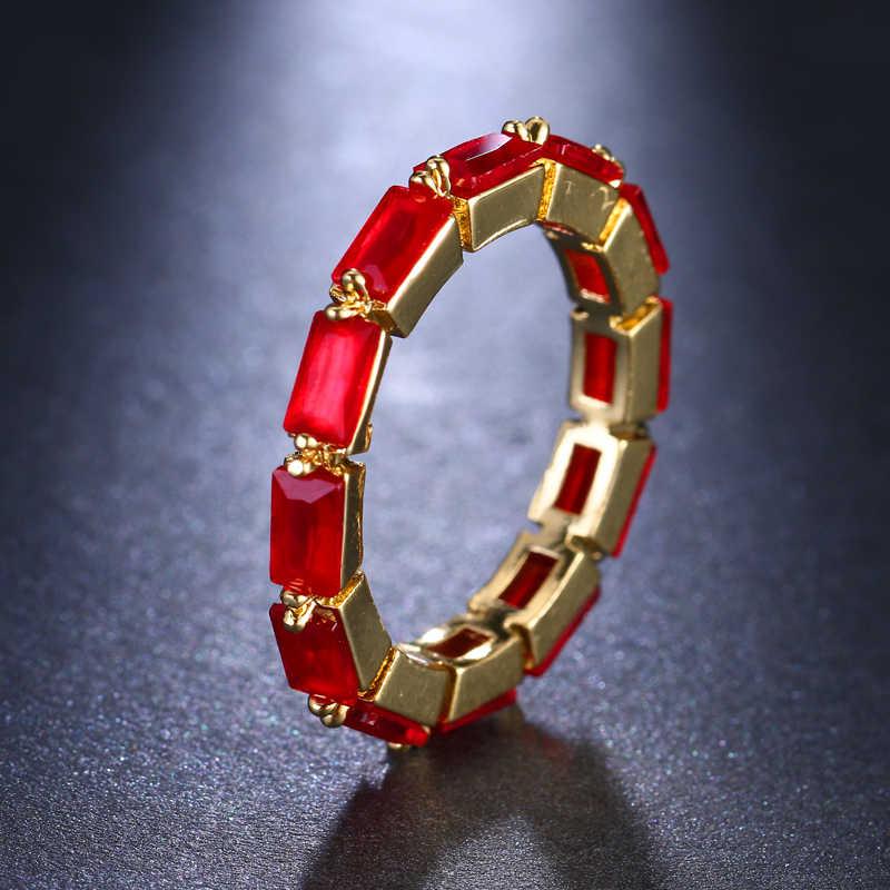 Emmaya Thời Trang Vòng Thiết Kế Độc Đáo Vàng Hình Chữ Nhật Màu AAA Zircon Finger Nhẫn Đối Với Phụ Nữ Jewelry Đảng Gift