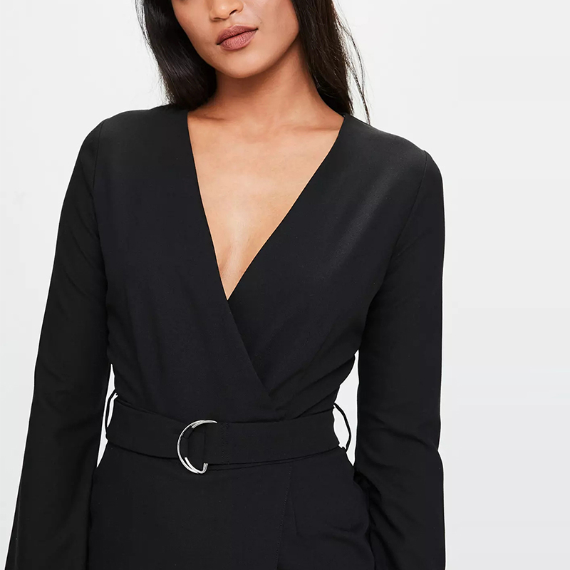 48e1dbc4ec HDY Haoduoyi 2018 Solid Sexy Deep V Neck Flare Sleeve crepe tailored  Jumpsuit Black Long Sleeve Crepe Tailored Playsuit-in T-Shirts from Women s  Clothing on ...