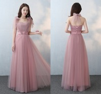 Elegant Silver/Pink Women Ladies Tulle Prom Princess Bridesmaid Long Dress Formal Dress First Communion Party Dress Maxi Dress