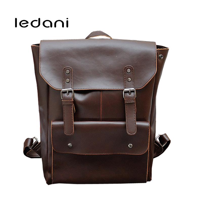 LEDANI Brand Herald Fashion Backpacks for Teenage Boys Men PU Leather Backpack School Bags Casual Vintage Male Travel Backpack canvas backpack women for teenage boys school backpack male