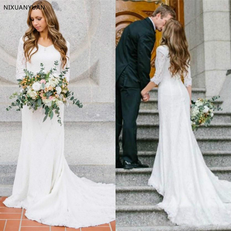 Modest Wedding Dresses With Long Sleeves Bohemian Lace Mermaid Bridal Gowns 2020 Country Wedding Dresses