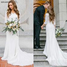 Skromne suknie ślubne z długimi rękawami artystyczna koronka Mermaid suknie ślubne 2020 suknie ślubne kraju tanie tanio NIXUANYUAN Trzy czwarte Koronki V-neck Sąd pociąg Długość podłogi Lace up Syrenka trąbka REGULAR Naturalne WD-00067