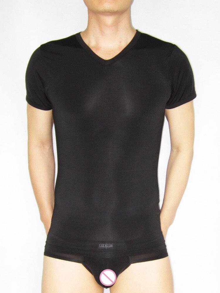 Male Underwear Lingerie Short-sleeve Top Silk Viscose Underwear Sleep Tops Shirt 143