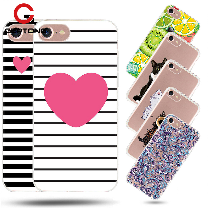GerTong Soft Silicon TPU Case For iPhone 6 7 X 5s 5 SE 8 7 6 S 6s Plus 4 4S Case Animal Flower Back Cover Phone Bag Fundas Coque