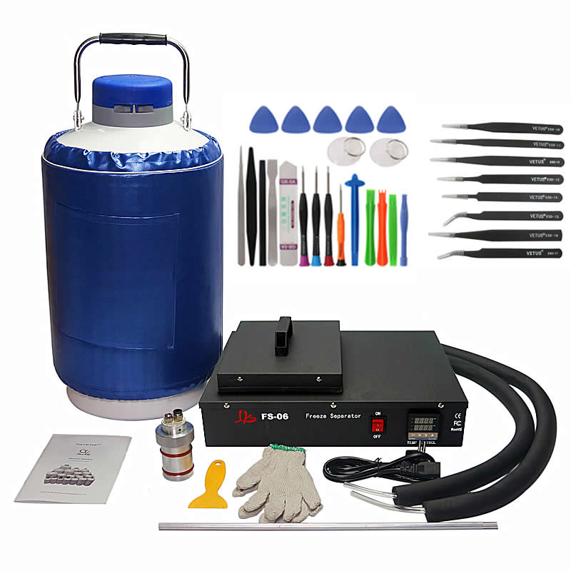 Nitrogênio líquido congelado lcd Separador FS06 2 em pacote com 10L 1 tanque de nitrogênio líquido 220 v/110 v