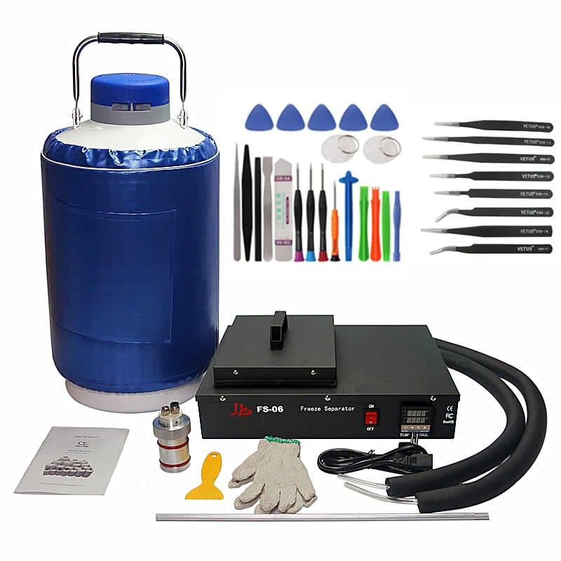 Séparateur lcd congelé à l'azote liquide FS06 paquet 2 en 1 avec réservoir d'azote liquide 10L 220 V/110 V